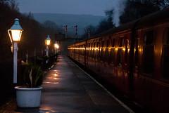 Platform 2 (Barry Duffin) Tags: uk sunset england night train photography lights nikon dusk yorkshire rail railway trains steam steamtrain grosmont nymr d3000