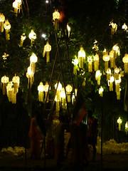 Student monks preparing for King Bhumibol's 87th birthday - Thailand (ashabot) Tags: night thailand seasia nightlights celebrations monks temples chiangmai nightshots lightanddark buddhistmonks exploreasia