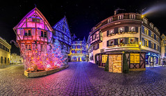 Colmar, Ancienne Douane (souvaroff) Tags: christmas xmas city decorations light sky panorama france architecture night photoshop 35mm canon stars photography eos lights star town exposure cityscape nightscape little mark ninja pano decoration trails 360 noel panoramic colmar fisheye trail ciel alsace tiny 7d planet nights nol 35 stern nuit march 360x180 ville circular toiles lumieres 360 etoiles panoramique markii ligh mulhouse fil photosphere nodal sternspuren sternspur m1l 7dmkii 815mm souvaroff