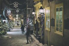 (William Self) Tags: christmas winter snow canada night evening december quebec quebeccity vieuxquebec oldquebec 2014 lowertown villedequebec sonynex6