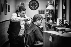 The Cut / La coupe (pjr100) Tags: street city people urban blackandwhite bw haircut toronto hair cut barber