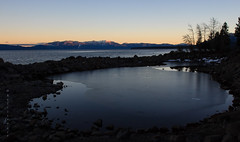 Winter Tranquility (San Francisco Gal) Tags: mountain lake snow tree ice water laketahoe heavenly endofday