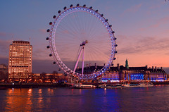 London Eye at dusk (Travis Pictures) Tags: city uk winter england london tourism westminster photoshop nikon britain londoneye tourists southbank riverthames embankment southwark waterway cityoflondon d5200 capitalsoftheworld