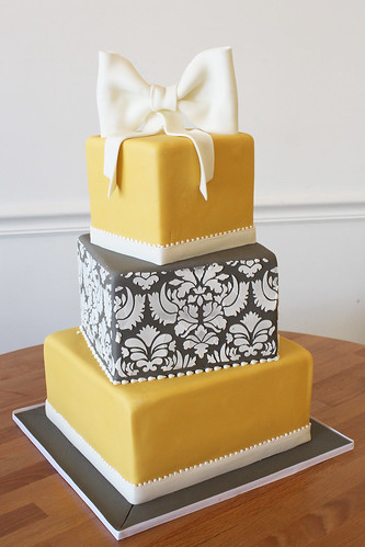 Yellow Damask Off-Set Square Wedding Cake with Bow