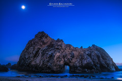 Moonshadow (Chiara Salvadori) Tags: ocean california longexposure travel blue wild cliff usa sun moon seascape west beach nature water colors america landscape rocks unitedstates bigsur pacificocean le journey bluehour traveling centralcoast westcoast pfeifferbeach d800 wawe