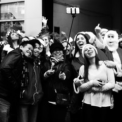 Selfie Stick (ShelSerkin) Tags: street newyorkcity portrait blackandwhite newyork manhattan candid streetphotography squareformat gothamist iphone nycstreetphotography mobilephotography iphoneography hipstamatic oggl