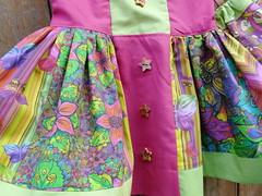 SKIRT JUPE PAYSMAGE FABRICS TISSUS DETAIL (paysmage) Tags: pink flowers summer flower cute green colors fashion butterfly children fun spring clothing colorful bright sewing crafts butterflies craft skirt collection fabric cotton jupe coordinates assorted apparel fabrics fushia flowery chevrons stiching spoonflower paysmage