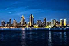 America's Finest City, slidered -[ HSS ]- (Carbon Arc) Tags: city blue sky reflection building night bay twilight san long exposure cityscape diego shore waterline colorefexpro sliderssunday nikcollection