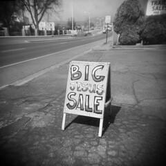 Big Jesus Sale (LowerDarnley) Tags: newmexico santafe southwest sign holga sale jesus