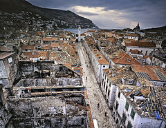 a look back to 1991. (tonyfirman21452) Tags: road city houses windows roof sea people mountains color tower church clouds buildings ruins destruction attack tiles brickwall shutters conflict 1991 dubrovnik largeformat siege aerealview exyugoslavia opticalbench