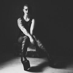 Laura (Barry_Madden) Tags: stockings tattoo female portraits model photoshoot heels shorthair inside lowkey youngwoman alternative nylons windowlight littleblackdress homestudio finnishwoman lauran sidecut finnishgirl inkedgirl portraits2016