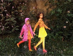 SKIPPER AND FRANCIE GO EXPLORING (ModBarbieLover) Tags: pink 1969 yellow mod doll barbie skipper tnt francie