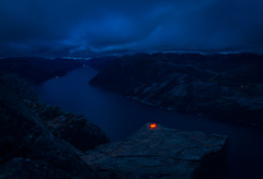 Adrenaline camping on Preikestolen. (Matthias Dengler || www.snapshopped.com) Tags: camping storm nature norway night dark landscape norge darkness norwegen tent explore matthias fjord adrenaline preikestolen lysefjord dengler snapshopped