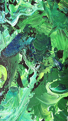 """""""Dark Forest"""" - Detail (KristinVictoria) Tags: original trees light abstract color colour detail tree green art texture colors leaves forest dark painting studio moss paint artist acrylic colours emotion artistic earth teal details curves knife chartreuse canvas medium swirl swirls create etsy curve pallet stretched creating cobalt teals darkened expressing"""