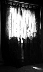 Morgonljus i sovrummet (MagnusBengtsson) Tags: blackandwhite gardiner drapes ljus svartvitt morgonljus fotosondag fs160522