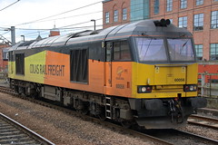 60056 0M56 (Rob390029) Tags: travel orange black travelling station yellow train newcastle coast track diesel north transport central tracks rail railway loco tyne class wear east transportation transit rails locomotive tug northeast tyneside 60 ncl mainline colas ecml 60056