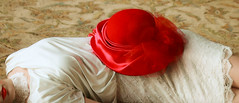 That Resting Place (coollessons2004) Tags: red woman white beauty hat poem dress elegant melancholy eoshe krystalsmith
