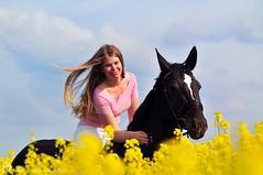 Sophie & Sunshine (Dorothee Rie) Tags: horse black rape blond raps pferd schwarz mdchen haar rapeblossoms rapsfeld galopp stute langes rapeflowers