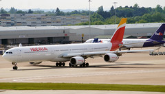 Iberia A340-642 EC-IOB. 27/05/16. (Cameron Gaines) Tags: madrid 2003 from old november summer sun man its grass weather cn manchester concrete one was back airport spain 1st aircraft 4 hangar flight may first sunny august down cargo spanish international engines airline airbus after boeing mad fedex month positioning runway 440 31st 757 airliner later a340 airfield iberia taxiing receiving wore the livery atr taxiway flew 2016 repaint egcc a340600 delivered 642 iberias a340642 eciob fwwcl airlivery 20032016