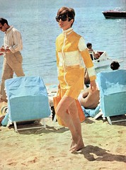 Audrey Hepburn in vinyl coat and shorts (Plastic Fashion Queens) Tags: fashion pants coat vinyl plastic audrey jacket 1967 shorts 1960s hepburn pvc