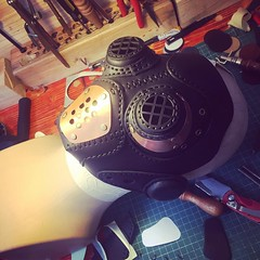 Work in progress. #Cyberpunk #CyberGoth #postapocalyptic #postapocalypse #steampunk #steampunkmask #leathermask #handmade #LARP #dieselpunk #leather #Darkart #costume #burningman (tovlade) Tags: black girl face make up leather punk hand mask goth goggles made doctor cyber cybergoth cyberpunk plague larp steampunk postapocalyptic postapocalypse dieselpunk