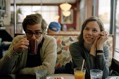 Andrew & Gillian (Patrick J. McCormack) Tags: portrait chicago 120 film analog couple fuji kodak diner portra gw690