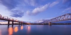 Bridge in the blue hour (Bridge Framer) Tags: longexposure panorama canon river bridges southaustralia murrayriver murraybridge scenicsnotjustlandscapes 1124l