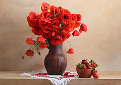 Red Is The Color Of (panga_ua) Tags: red petals ceramics berries embroidery strawberries bowl poppies jug reds waterdrops redflowers fieldflowers redisthecolorof