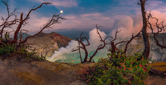 Scenic view of ijen crater (Mytruestory Photography) Tags: sky panorama mountain nature water horizontal sunrise indonesia outdoors photography day tranquility nopeople remote idyllic baretree scenics tranquilscene volcaniccrater colorimage beautyinnature nonurbanscene highangleview mytruestory sunrisedawn mytruestoryphotography smokephysicalstructure