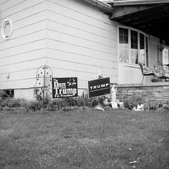 (patrickjoust) Tags: frackville schuylkillcounty pennsylvania superricohflex fujifilmneopan100acros developedinrodinal150 tlr twin lens reflex 120 6x6 medium format black white bw home develop film expired blancetnoir blancoynegro schwarzundweiss manual focus analog mechanical patrick joust patrickjoust central pa usa us united states north america estados unidos autaut small town coal region country donald trump campaign sign fear fascism don house lawn jesus figure