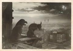 Notre Dame chimeres overlooking Paris (sctatepdx) Tags: 1920s paris notredame gargoyles yvon vintageparis chimeres savoncadum pierreyvespetit