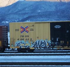 FIRE, MEH (YardJock) Tags: railroad mountain snow cold ice graffiti boxcar tbox benching benchreport