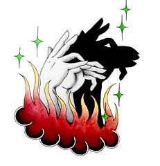 Capricorn Shadow Puppets (jodiorodeo) Tags: shadow tattoo stars fire hands hand puppet flames flash goat puppets watercolour zodiac constellation capricorn jodiorodeo
