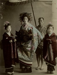 Tayuu and two child attendants (kamuro) (noel43) Tags: japan japanese kyoto district prostitute prostitution redlight pleasure meiji quaters yoshiwara shimabara oiran tayu tayuu kamuro