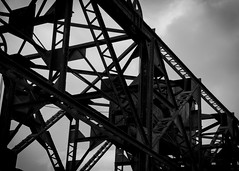 Black and White (trainmann1) Tags: bridge bw contrast blackwhite md nikon iron raw rivets edited steel maryland x co handheld desaturated nikkor williamsport amateur beams cocanal rivet 18200mm d90