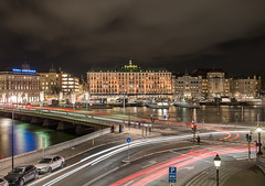 Grand Hotel Stockholm at night (Storkholm Photography) Tags: street city longexposure nightphotography bridge winter light lake reflection cars water skyline architecture night clouds buildings dark boats lights evening nikon stream europe downtown traffic sweden stockholm sigma bank gamlastan scandinavia oldtown grandhotel blasieholmen d610 sigma2470 streem handelsbank sigma2470f28 slottskajen strmsbron