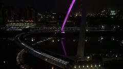 Time lapsed millennium eye (Mickyboyc) Tags: city bridge people colour eye water night river newcastle timelapse fast gateshead change lapse gatesheadmillenniumbridge