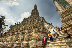 The Steps of Wat Arun (shutterdiscovery) Tags: travel tourism stairs canon thailand temple colorful angle bangkok buddha wide steps buddhism colourful dslr wat porcelain hdr steep arun toursts beautfiul 550d