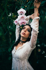 Orchid Dreams (NatVon Photography) Tags: sanfrancisco portrait orchid girl fashion female model orchids naturallight 50mm14 choker conservatoryofflowers freepeople unif lacedress nikond600 natvon aditiunbound