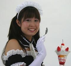 See Santa's Sundae Spoon? (emotiroi auranaut) Tags: christmas xmas food cute girl beautiful beauty japan dessert fun costume nice pretty gorgeous adorable teen attractive teenager santaclaus lovely charming bonnet maid teenage