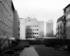 fading (mahohn) Tags: windows bw monochrome architecture facade deutschland fenster hamburg 54 fassade mundsburgtowers canonpowershotsx220hs