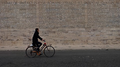 Bike at Ara (Leon Sammartino) Tags: italy rome roma bike wall writing italia pano museo pacis dellara
