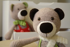 Teddy bears with hand painted safety eyes (lilleliis) Tags: bear animal scarf toys pants teddy handmade crochet clothes trousers amigurumi