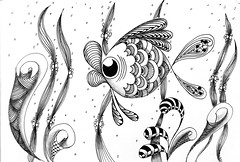 Kissy Fish (kennardandrea) Tags: blackandwhite fish seascape seaweed lines sunshine landscape sketch drawing curves curls doodle zen tangle zentangle zendoodle