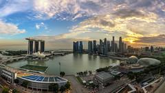 The Grand City (Mabmy) Tags: city sunset sky panorama architecture clouds lumix singapore cityscape cityhall olympus burning esplanade cbd ultrawide hdr mbs em1 7mm manualblending floatingstadium