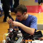 A student working on his robot