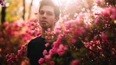 (Steven Sites) Tags: flowers gay boy portrait man cute guy floral canon garden eos 50mm gold golden spring mark f14 iii sigma twink lgbt hour 5d azalea