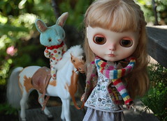 Leading Roy on the Mountain Trail (Emily1957) Tags: ella melacacia blythe custom dolls doll dewdropteddybears roy toys toy toyhorse sugarbabylove light naturallight nikond40 nikon kitlens