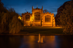 17/52: St. Mary's Church [Explored] (judi may) Tags: trees sky reflection church water fountain night river nightshot nighttime stmaryschurch hertfordshire hitchin riverhiz project52 canon7d