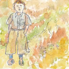# 159 (07-06-2016) (h e r m a n) Tags: herman illustratie tekening bock oosterhout zwembad 10x10cm 3651tekenevent tegeltje drawing illustration karton carton cardboard jongen boy beeldbad 2016 kunst art